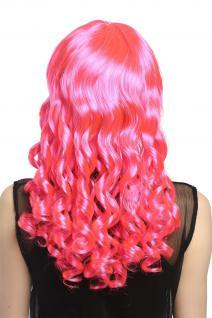 Perücke Damen Karneval Fasching Cosplay Korkenzieher Locken lang Pony rosa pink - Vorschau 2