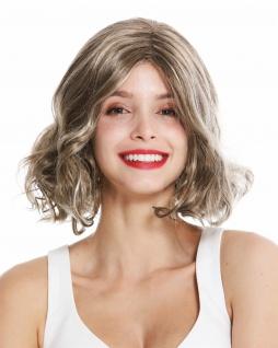 Damenperücke Perücke Damen kurz Scheitel gelockte Spitzen Dunkel Blond Mix