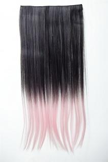 Extension Haarverlängerung 5 Clip-In glatt zweifarbig Ombre Schwarz Rosa 60cm