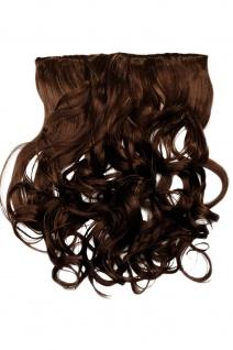 Clip-In Extension Haarverlängerung breit hitzefest 5 Clip lockig Mittelbraun