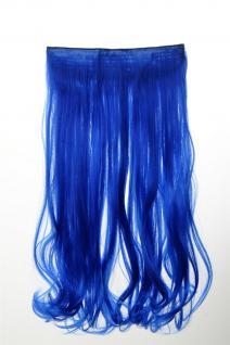 Haarteil Extension breite Haarverlängerung 5 Clips lockig Neonblau YZF-3178