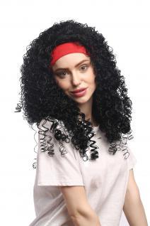 Perücke Damen Fasching Karneval rotes Stirnband Schwarz gelockt Latina Karibik - Vorschau 2