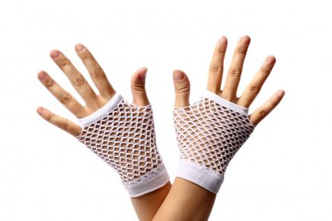 Handschuhe Netzhandschuhe Weiß fingerlos kurz Netz 80er Punk Rocker Gothic Emo