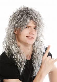 Perücke Herren Damen Karneval lang wild gelockt Vokuhila Rocker Proll alt grau