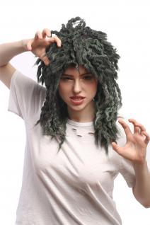 Perücke Damen Herren Karneval Grau Grün Afro Rasta Neptun Nixe Meerjungfrau