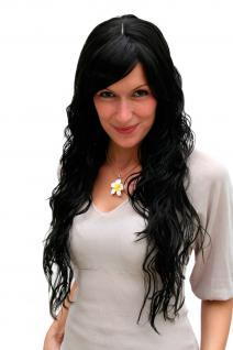 Damenperücke, Wig, schwarz, langhaarig, Scheitel, Wet-look, Haarersatz, 70 cm, 9333-2