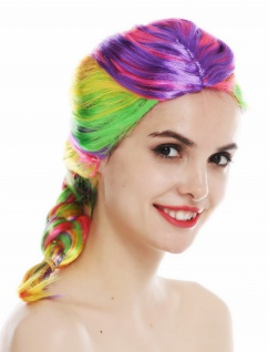 Perücke Damenperücke Karneval regenbogenfarben bunt Zopf geflochten lang 31946