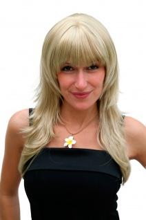 Blonde Perücke Damenperücke gestuft lang gerader Pony Haarersatz 55 cm 2600-234