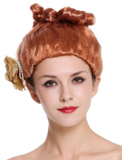 Perücke Damen Karneval rot Rose hochgesteckt viktorianisch Saloon Revue Girl