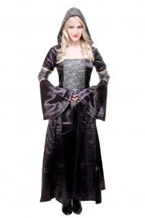 Kostüm Damenkostüm Kleid mit Haube Mittelalter Romantik Elfe Gothic Hofdame L068