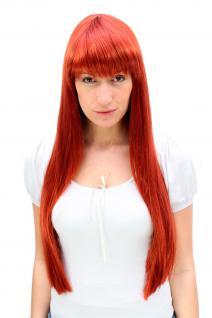 Perücke Kupfer sündhaft Rot langes und glattes Haar mit Pony Frauen 3227-135