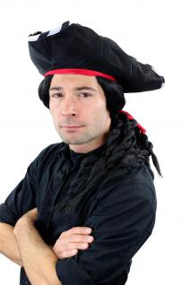 Karneval Fasching Pirat Set: Hut, Bart & lange schwarze Perücke geflochtene Zöpfe