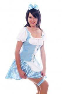 Damenkostüm: Hellblaues Dirndl Zofe Maid Zimmermädchen Dienstmagd Haarreif L009 - Vorschau 2