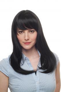 Perücke, Wig, Damenperücke, schwarz, lang, glatte Haare, Pony, Haarersatz, 50 cm, 9250-1B