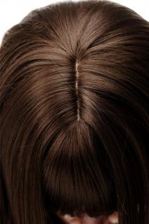 Bezaubernde Perücke Braun Mittel-Goldbraun glatte Haare Pony ca. 55cm 3280-10 - Vorschau 5
