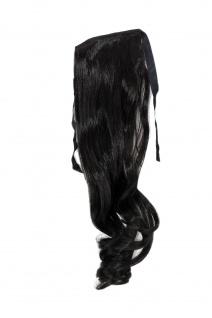 Haarteil ZOPF Schwarz wellig 45cm YZF-TC18-2 Band Haar Klammer Haarverlängerung