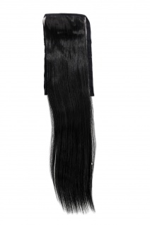 Haarteil ZOPF Schwarz glatt 45cm YZF-TS18-1 Band Haar Klammer Haarverlängerung