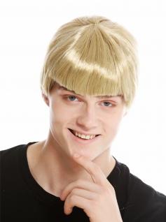 Perücke Herren Damen Karneval Fasching Halloween Kurz Blond Pony 91087-ZA89