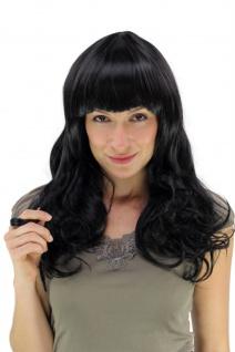 Perücke Haarpracht schwarz lang gewellt voluminöser voller Pony YZF-7080L Wig - Vorschau 1