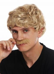 Perücke Schnauzbart Karneval Herren kurz gelockt wellig 70er Jahre Cowboy blond