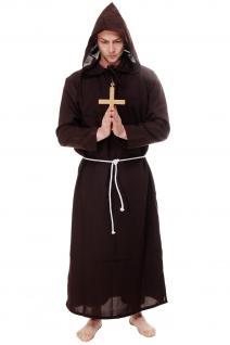 Mönchskutte Priester Mönch Klosterbruder Kloster dunkelbraun Herren Kostüm L088