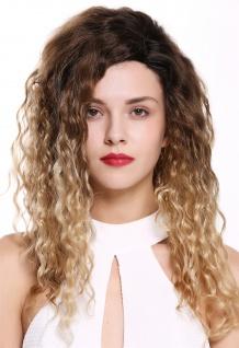 Damenperücke Perücke Seitenscheitel Afro Krepplocken gelockt Ombre Braun Blond