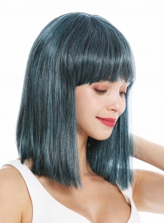 Perücke Damenperücke schulterlang Longbob glatt Kleopatra Pony Schwarz Blau