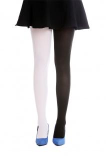 Strumpfhose Pantyhose Damenkostüm Karneval Halloween schwarz weiß S/M WZ-013BW