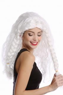 Perücke Damen Herren lang weiß geflochtene Zöpfe Eisprinzessin alter Wikinger - Vorschau 4