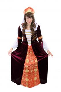 Kostüm Kleid & Haube Mittelalter Zarin Edelfrau Burgfrau Königin Cosplay L005