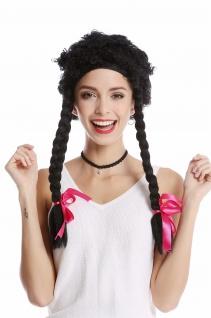 Perücke Damen Karneval krause Locken schwarz lange geflochtene Zöpfe wild Hippie