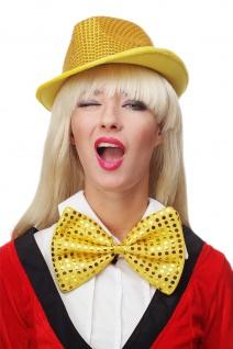 Fliege Groß Clownfliege Bowtie gold gelb Glitzer Pailletten Riesenfliege VQ-029