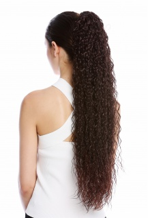 Haarteil Zopf extrem lang voluminös lockig Krepplocken gekreppt Mahagoni Braun