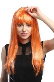 Perücke Karneval Fasching Damen lang glatt Pony orange Glitter Strähnen XR-003