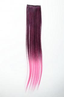 Breite Extension 2 Clips Strähne Haarverlängerung glatt Ombre 45cm Rot