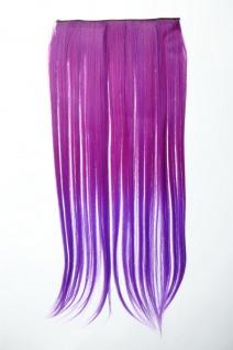 Extension Haarverlängerung Clip-In 5 Clip glatt zweifarbig Ombre Lila 60cm lang
