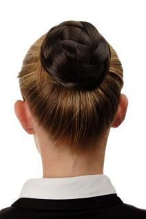 Dutt Haarteil aufwendig geflochten Haarknoten Brautschmuck Mittel-Braun Q399D-6