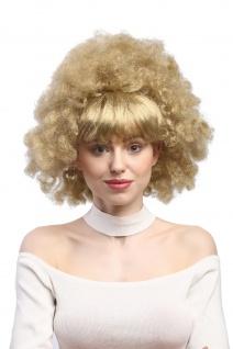 Damen Perücke Party 60er 70er Funk funky Afro Locken glatter Pony blond