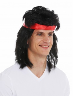 Perücke Stirnband Karneval Herren lang Vokuhila 80s Action-Star Kung-Fu schwarz - Vorschau 5