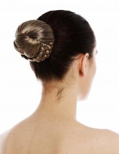 Chignon Dutt Haardutt Haarknoten traditionell geflochten Braun Blond gesträhnt