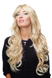 Damen Perücke Blond-Mix Locken Wellig Lang Seitenscheitel ca.70 cm 9204S-24BT613