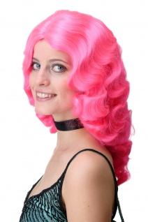 Damen Perücke Wasserwelle Classic Hollywood Diva gewellt lang Volumen Pink Rosa