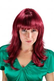 Damen Frauen Perücke Damenperücke burgunder rot gestuft Pony glatt 50 cm 1548-39
