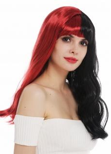 Perücke Karneval Cosplay Damen lang gewellt Pony schwarz rot Hälften Punk Emo
