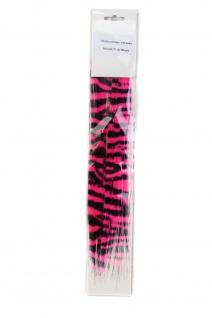 2 x 1 Neon Clip-In Strähne Extension Zweifarbig Pink & Schwarz Emo 3030-HW2-PiB