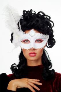 Karneval Venezianische Halb-Maske Damenmaske weiß Federn Society CMN-079 - Vorschau 2