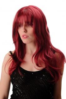 Damenperücke Perücke lang glatt leicht wellig Pony wunderbar dicht granatrot rot