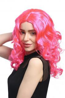 Perücke Damen Karneval lang Volumen Locken lockig Mittelscheitel rosa pink - Vorschau 2