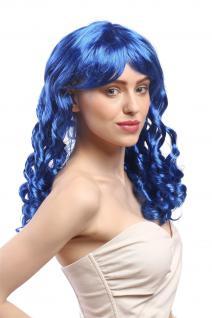 Perücke Damen Karneval Fasching Cosplay Korkenzieher Locken lang Pony blau