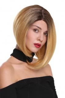 Perücke Damenperücke Lace-Front Scheitel kurz glatt Longbob Ombre Braun Blond